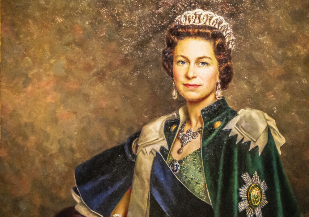 A portrait of Queen Elizabeth II, a member of the British royal family.
