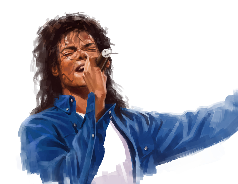 An illustration of Michael Jackson singing.