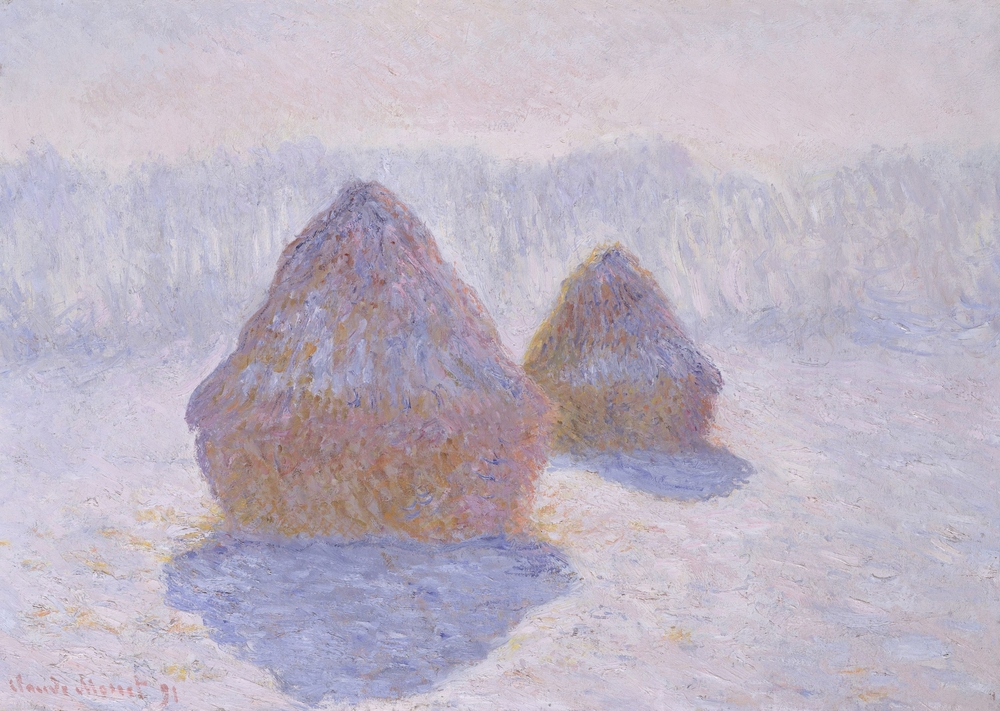 "A photo of a painting from Claude Monet's ""Haystacks"" series."