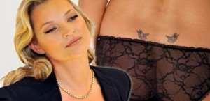 Kate Moss has two swallows tattooed on her lower back, originals by Lucian Freud.
