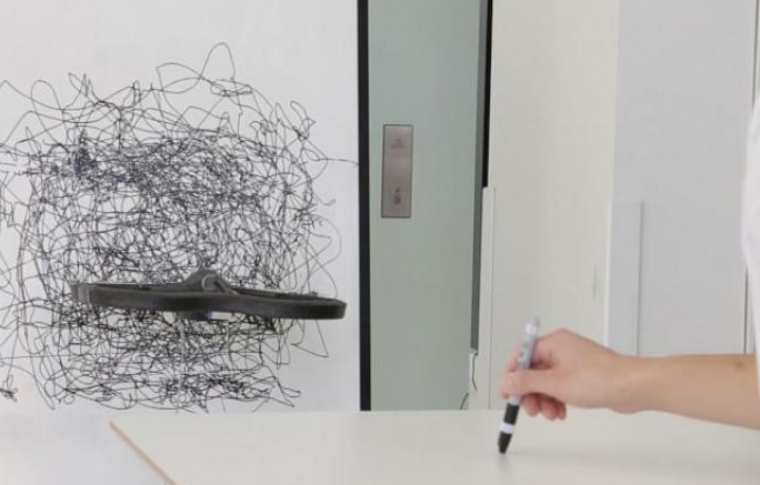A hand guides a drone's movements.