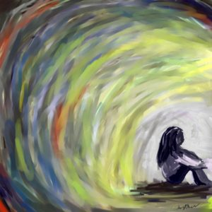 A painting of a young girl sitting at the end of a tunnel.