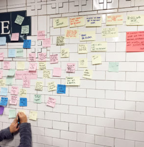 A photo of a subway wall covered in sticky notes.