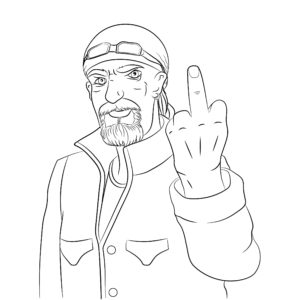 A drawing of a biker with his middle finger up.