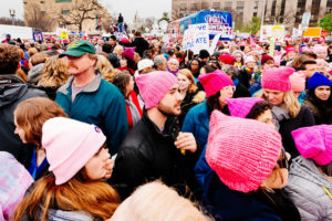 A photo of an enormous crowd of people taken from the Women's March on Washington.