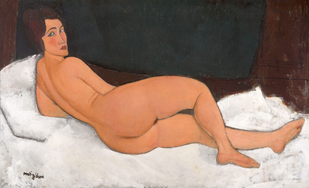 """A photo of """"Nu couché (sur le côté gauche),"""" a 1917 painting by Amadeo Modigliani."""