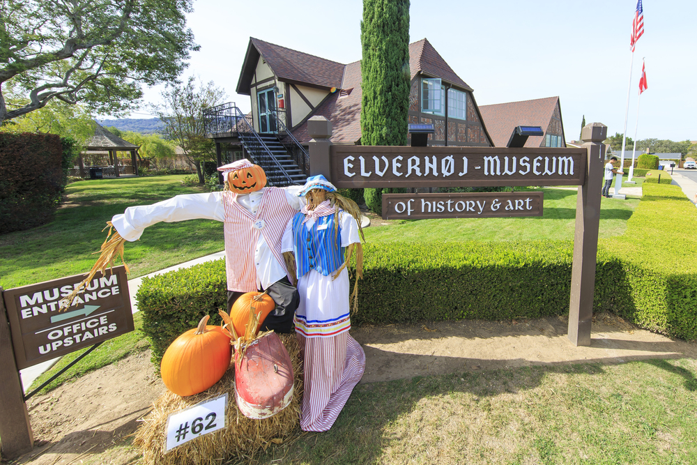 Halloween decorations in front of the Elverhoj Museum of History & Art on October 24, 2015.