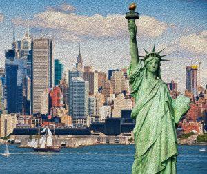 An oil painting of the New York City skyline.