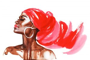 A beautiful water color painting of a black woman.