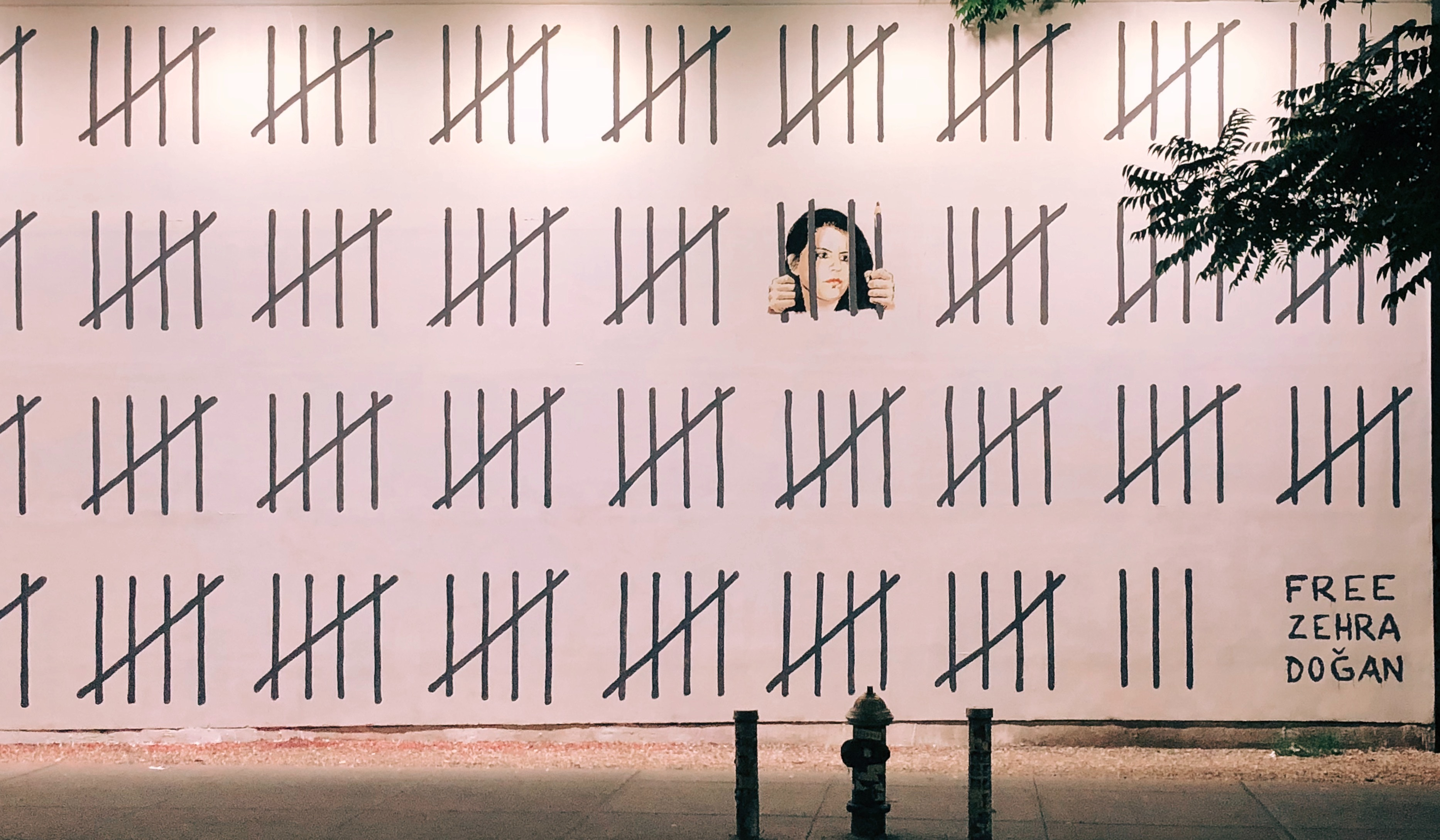 A 70-foot mural by street artist Banksy that tallies the days that Doğan spent in prison.