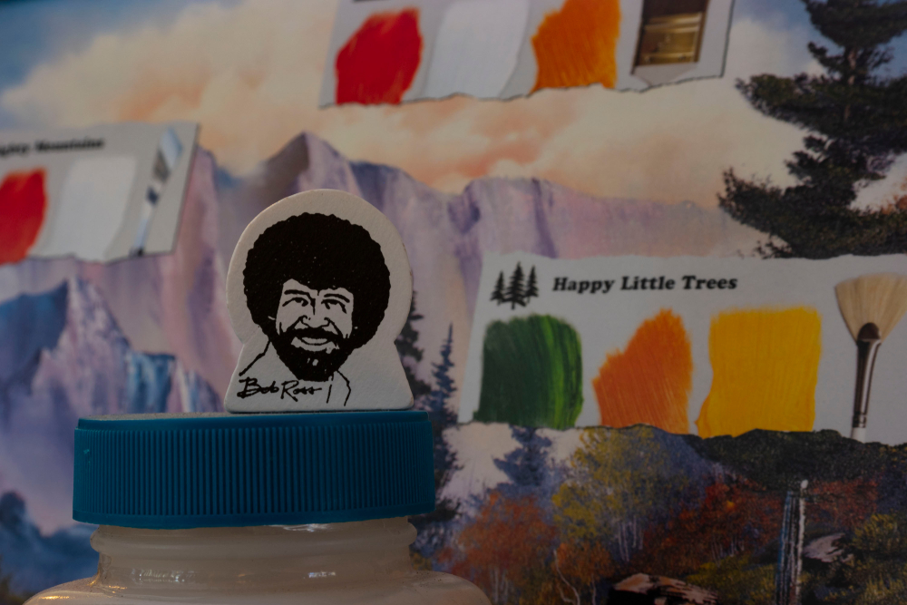 A photo of a Bob Ross painting.